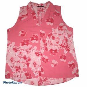 Tahari Coral Pink Sleeveless Blouse Large